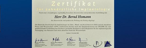 Zahnarzt Dr. Homann Bocholt -Zertifizierung