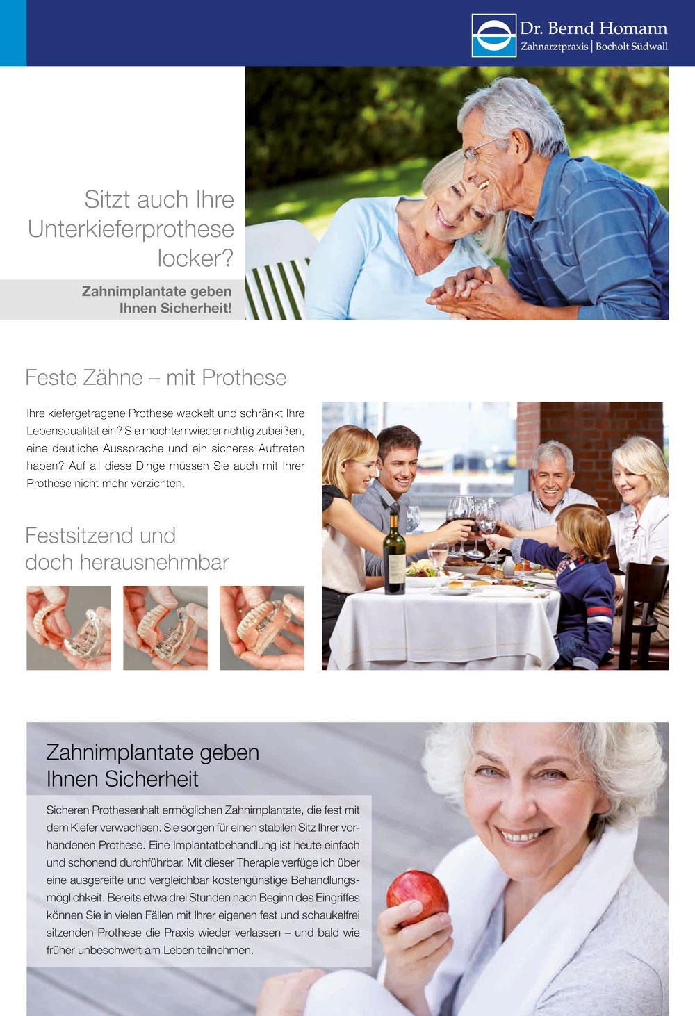 Zahnarzt Dr. Homann Bocholt - Flyer Zahnimplantate